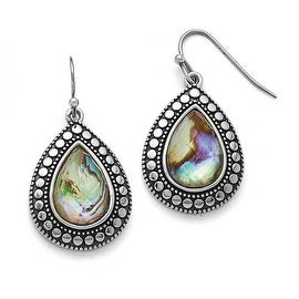 Chisel Stainless Steel Synthetic Abalone Polished/Antiqued Earrings