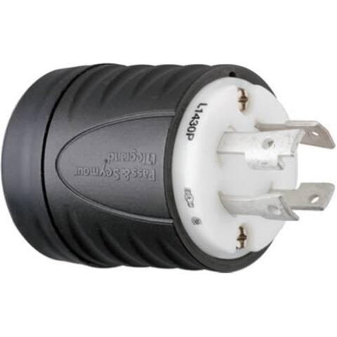 Pass & Seymour L1430Pccv3 30A 3 Pole 4 Wire Grounding Locking Plug Black & White