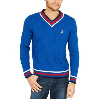Nautica Mens V-Neck Sweater Fall Cable-Knit