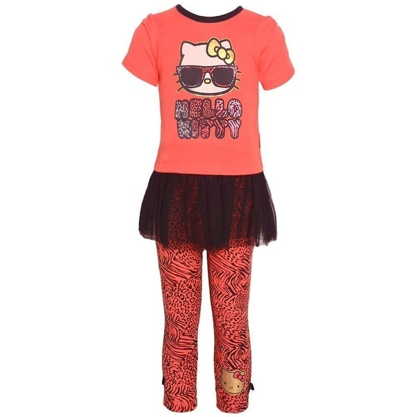 Hello Kitty Baby Girls Coral Skirted Tunic Animal Print 2 Pc Legging Set