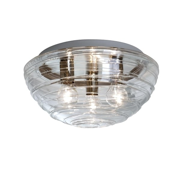 Besa Lighting 906361C Wave 3-Light Flush Mount Ceiling Fixture with Clear Shade - N/A
