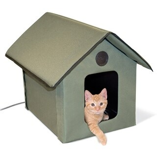 "K&H Pet Products Outdoor HEATED Kitty House Beige 22"" x 18"" x 17"""