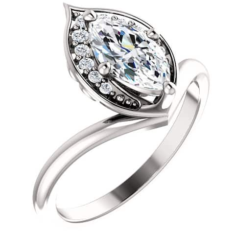 1 1/10ct Diamond Marquise Halo Engagement Ring 14k White Gold Enhanced