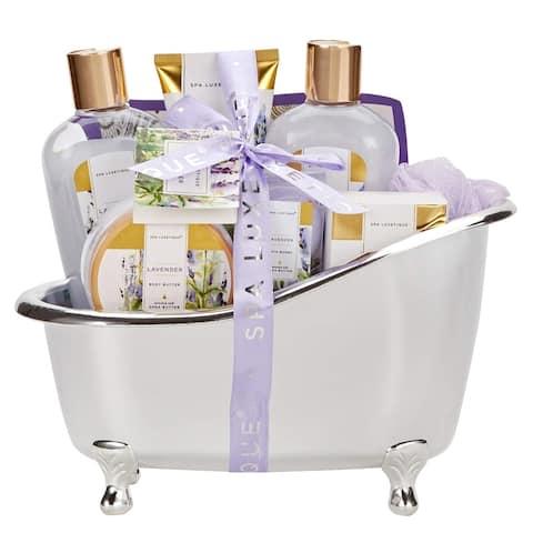 Spa Gift Basket Luxury 8 Pc Lavender Bath Set