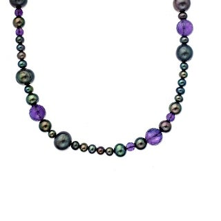 Freshwater Pearl and Amethyst Bead Necklace in Sterling Silver - Multi-Color