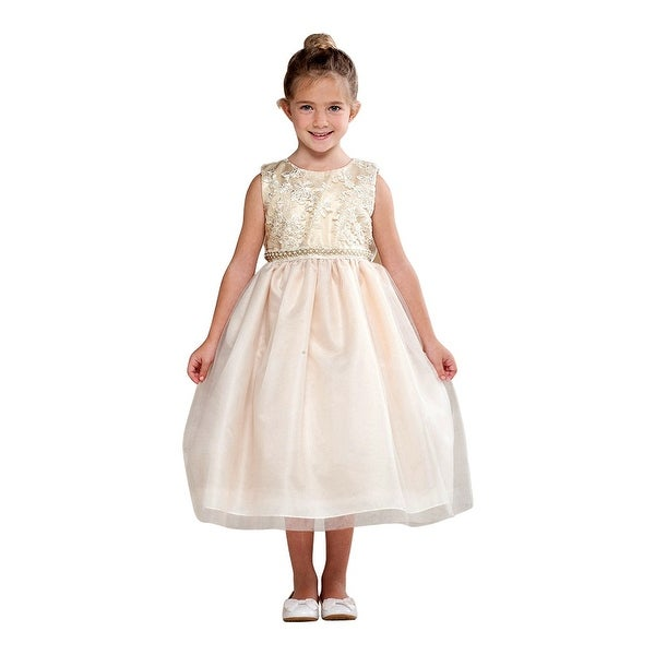 60254d05ec6 Shop Crayon Kids Little Girls Ivory Embroidered Bejeweled Flower Girl Dress  - Free Shipping Today - Overstock - 19859265