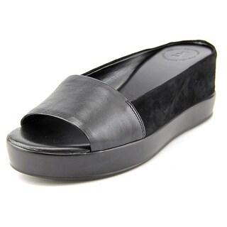 French Connection Pepper Women Open Toe Leather Black Slides Sandal