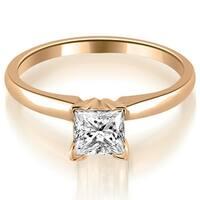 0.50 cttw. 14K Rose Gold Classic Princess Cut Solitaire Diamond Ring