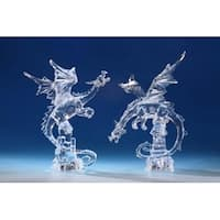"Pack of 2 Icy Crystal Decorative Illuminated Fantasy Dragon Figures 15"" - Clear"