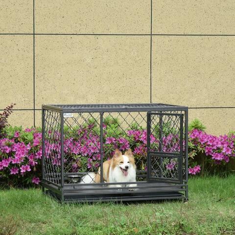 PawHut Dog Crate w/ Wheels & Lockable Door for Medium Dogs