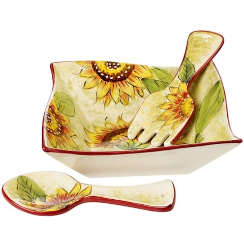 Cucina Italiana Ceramic Square Salad Serving Bowl with Servers 10 x 10 Inches, Sunflower /10 x 10 5