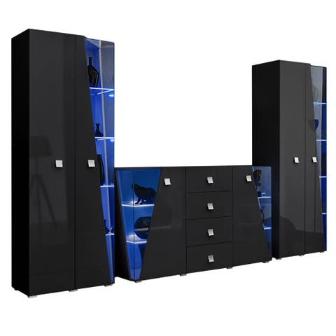 Edge Set SB-BK-BK Modern Wall Unit Entertainment Center