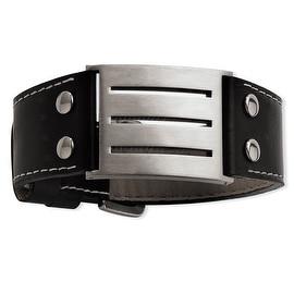 Chisel Stainless Steel Genuine Leather Adjustable Buckle Bracelet