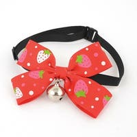Unique Bargains Dot Print Bell Decor Pet Dog Cat Plastic Buckle Bowknot Necktie Red