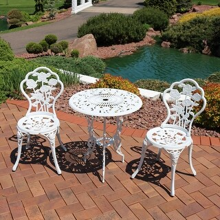 Sunnydaze 3-Piece White Flower Designed Cast Aluminum Patio Furniture Bistro Set