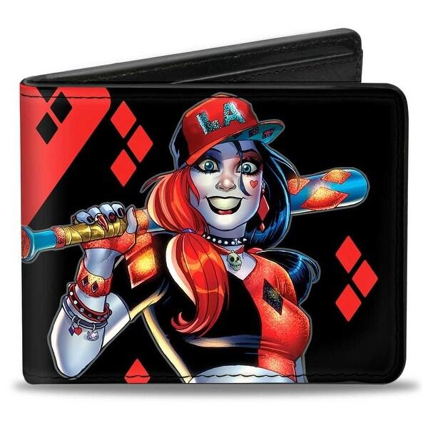 Harley Quinn Issue #20 La Baseball Cover Pose Diamonds Black Red Bi Fold Bi-Fold Wallet - One Size Fits most