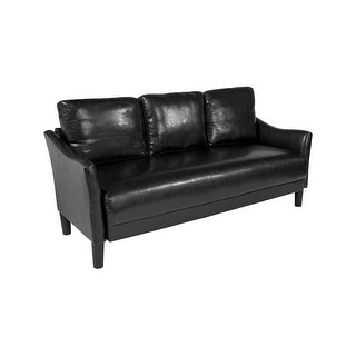 Offex Contemporary Upholstered Black Leather Sofa Couch