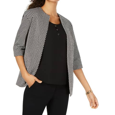 Anne Klein Womens Jacket Black Size 10 Jacquard Printed Open Front