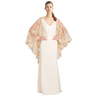 Badgley Mischka Lace Cape Sleeve Evening Gown Dress