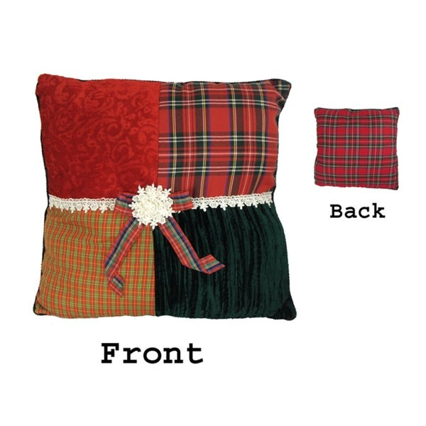 Pack of 4 Square Textured Tartan Plaid Velvet Decorative Christmas Throw Pillows - RED