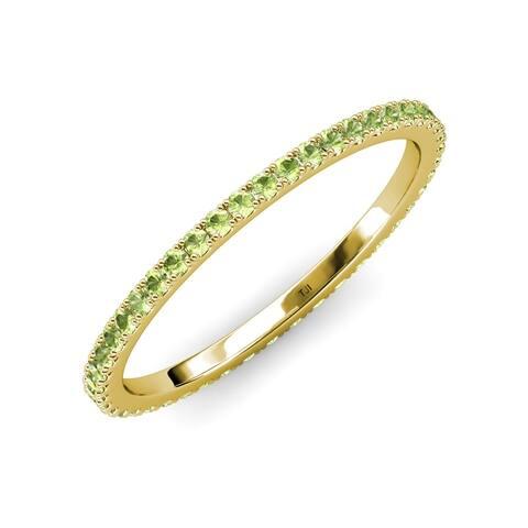 TriJewels Peridot 3/4 ctw French Set Women Eternity Ring 14K Gold