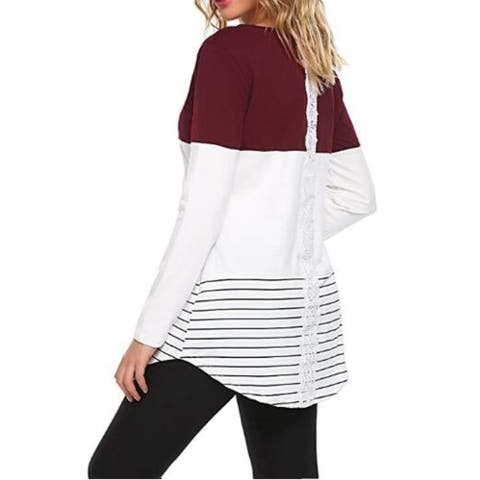 Color Block Lace Long Sleeve T Shirt Tunic Tops