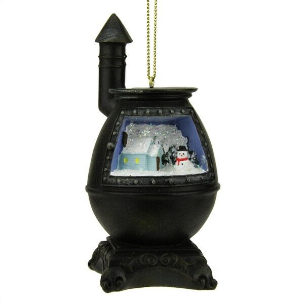 "3.75"" Black Retro Potbelly Stove with Winter Scene Christmas Ornament"