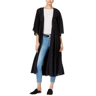Free People Curved Gauze Open Front Duster Cardigan Black - s