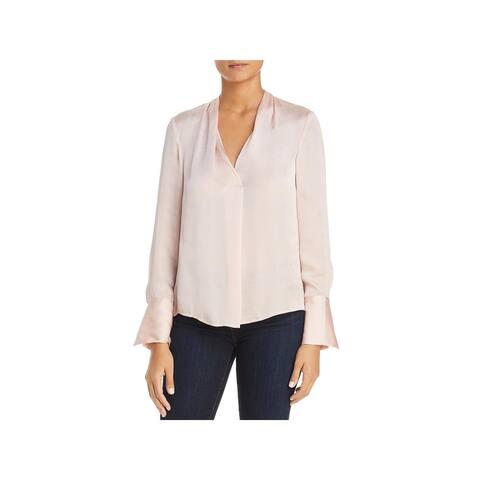 Kenneth Cole New York Womens Dress Top V-Neck Long Sleeve
