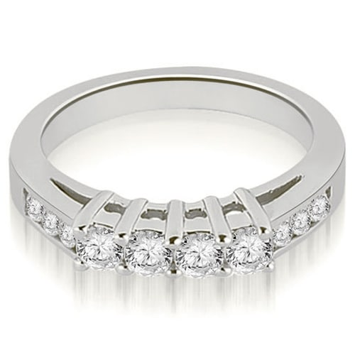 0.60 cttw. 14K White Gold Prong Set Round Cut Diamond Wedding Band