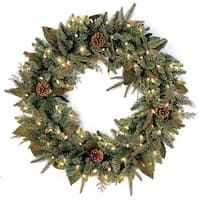 Pre-Lit Mixed Winter Pine Artificial Christmas Wreath - 24 Inch, Clear Lights