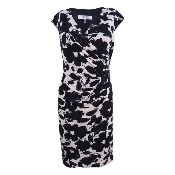 6a06a0b28dda3 Shop Kasper Women's Petite Printed Wrap Dress (PM, Stone/Black) -  Stone/Black - PM - On Sale - Free Shipping On Orders Over $45 - Overstock -  21937463