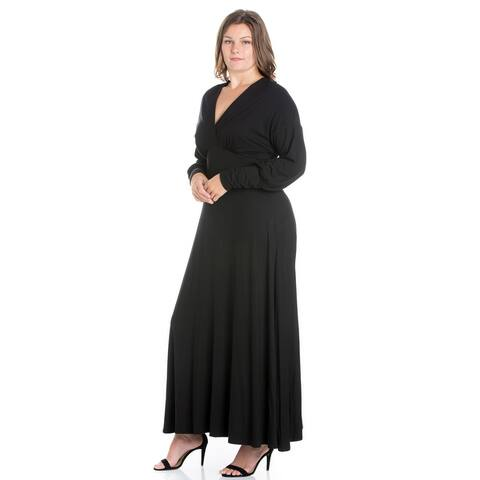 24seven Comfort Apparel V-Neck Long Sleeve Plus Size Maxi Dress