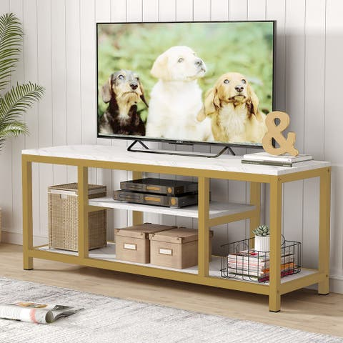 """3-Tier TV Console for TVs Up to 60"""" with Faux Marble Veneer, Sofa Console Entryway Table"""