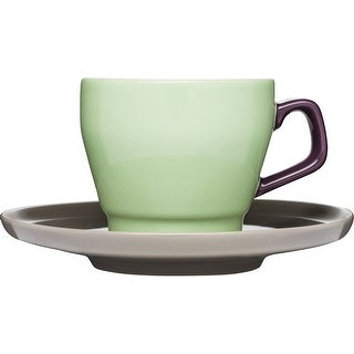 Sagaform POP Stoneware Coffee Cup and Saucer 8 1/2-Ounce Spring Green/Purple/Brown