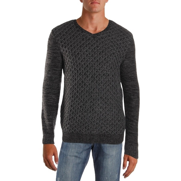 14a8ddb3859a Shop Calvin Klein Mens Pullover Sweater V-Neck Textured - L - Free ...