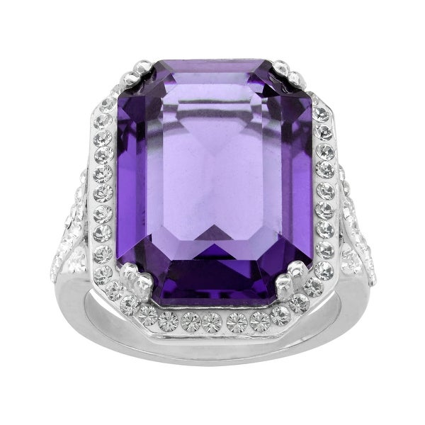 Crystaluxe Ring with Purple & White Swarovski Crystals in Sterling Silver