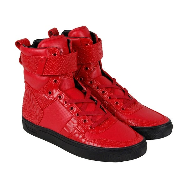 Shop Radii Vertex Mens Red Leather High Top Lace Up Sneakers Shoes ... a9b3822bfa
