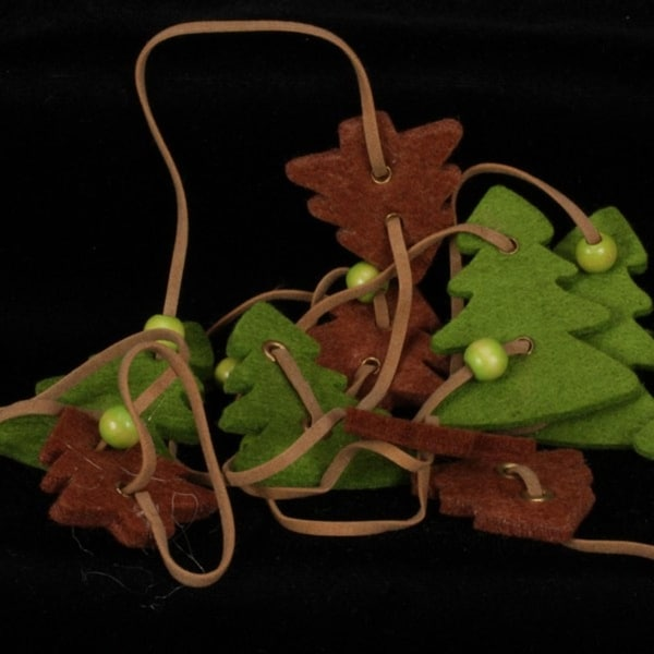 Olive Green And Chocolate Brown Small And Large Trees Felt Garland Ornaments