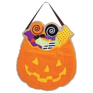"""Evergreen 2DHB1015 Halloween Pumpkin Door Decor, Orange, 23"""" H"""