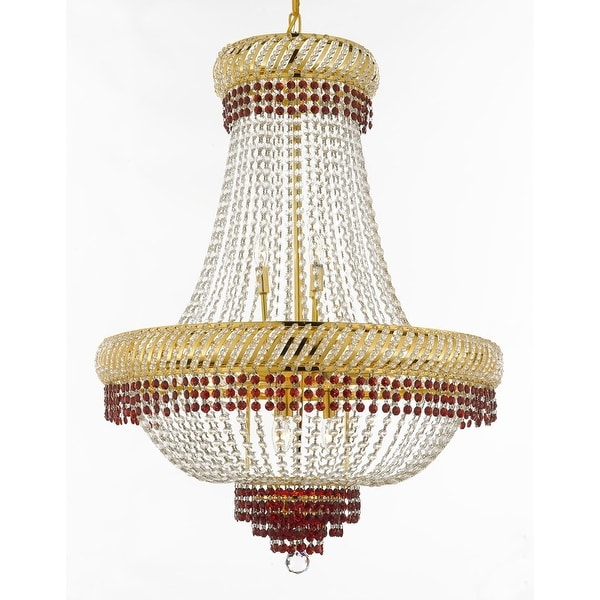 French Empire Crystal Chandelier Chandeliers Lighting Trimmed With Ruby Red Good For Dining Room