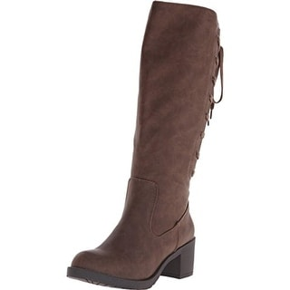 Rocket Dog Womens Hickory Roast Faux Leather Knee-High Riding Boots