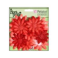 Petaloo FloraDoodles Daisy Layers Sm Glit Red
