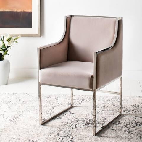 Safavieh Couture Arteaga Almond Velvet Commercial Grade Arm Chair