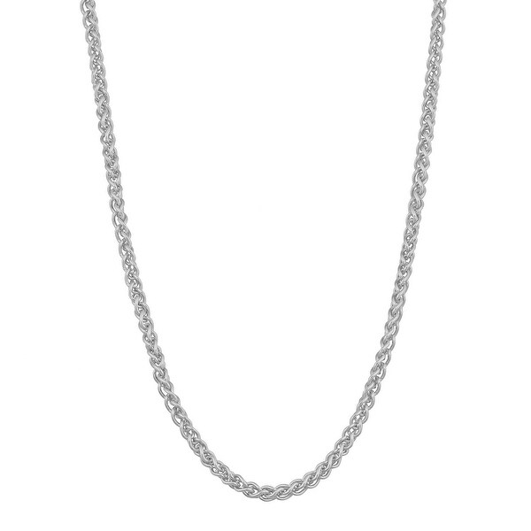 Mcs Jewelry Inc  14 KARAT WHITE GOLD SOLID ROUND WHEAT CHAIN NECKLACE (2.1MM)