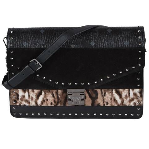 MCM Visetos Suede Leopard Print Studded Medium Patricia Clutch Bag Purse - Black