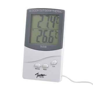 Unique Bargains LCD Display Indoor Outdoor Thermometer Weatherglass Clock