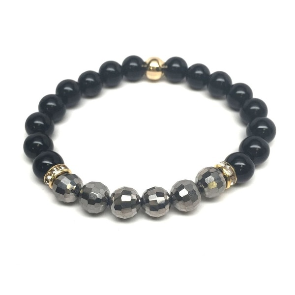 Black Crystal 'Glow' stretch bracelet 14k Over Sterling Silver