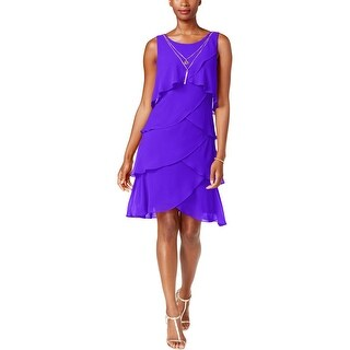 SLNY Womens Cocktail Dress Tiered Sleeveless
