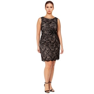 Calvin Klein Plus Size Sleeveless Knotted Lace Sheath Dress - 18W